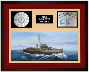 USS GILLETTE DE-681 Framed Navy Ship Display Burgundy