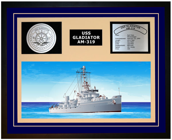USS GLADIATOR AM-319 Framed Navy Ship Display Blue