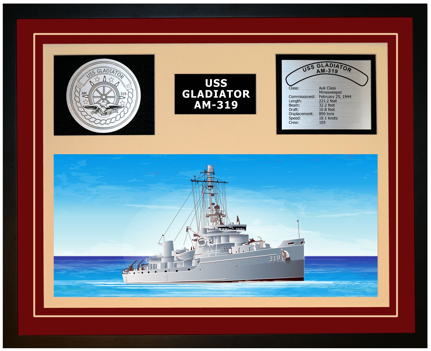 USS GLADIATOR AM-319 Framed Navy Ship Display Burgundy