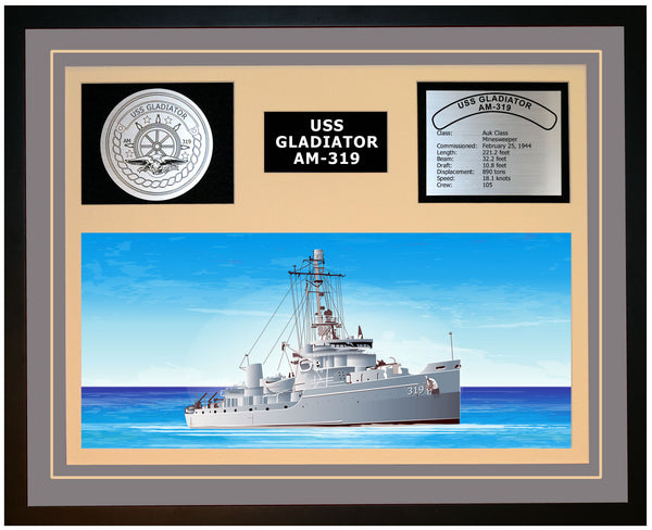 USS GLADIATOR AM-319 Framed Navy Ship Display Grey