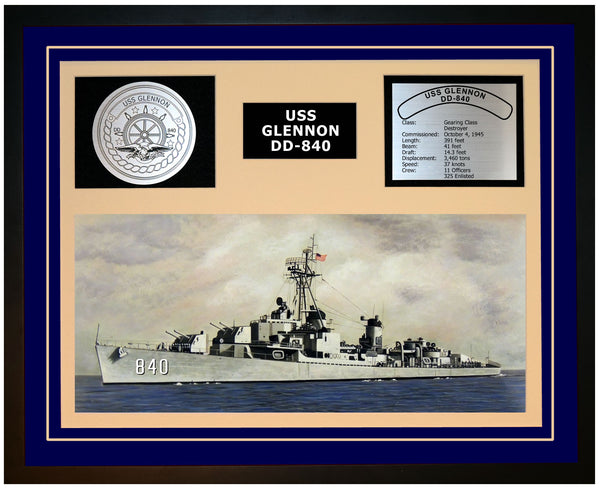 USS GLENNON DD-840 Framed Navy Ship Display Blue