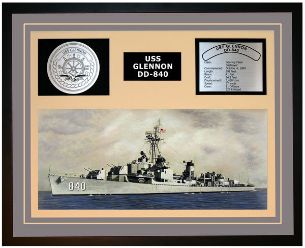 USS GLENNON DD-840 Framed Navy Ship Display Grey