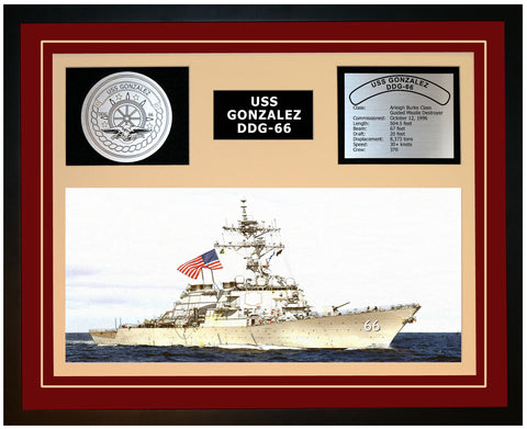 USS GONZALEZ DDG-66 Framed Navy Ship Display Burgundy
