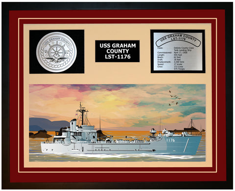 USS GRAHAM COUNTY LST-1176 Framed Navy Ship Display Burgundy