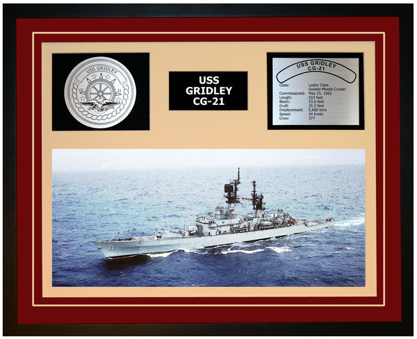 USS GRIDLEY CG-21 Framed Navy Ship Display Burgundy