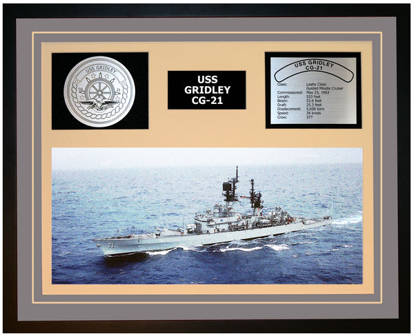 USS GRIDLEY CG-21 Framed Navy Ship Display Grey