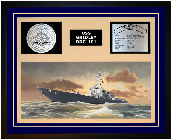 USS GRIDLEY DDG-101 Framed Navy Ship Display Blue