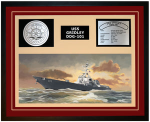 USS GRIDLEY DDG-101 Framed Navy Ship Display Burgundy