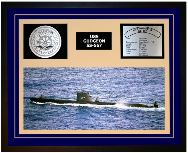 USS GUDGEON SS-567 Framed Navy Ship Display Blue