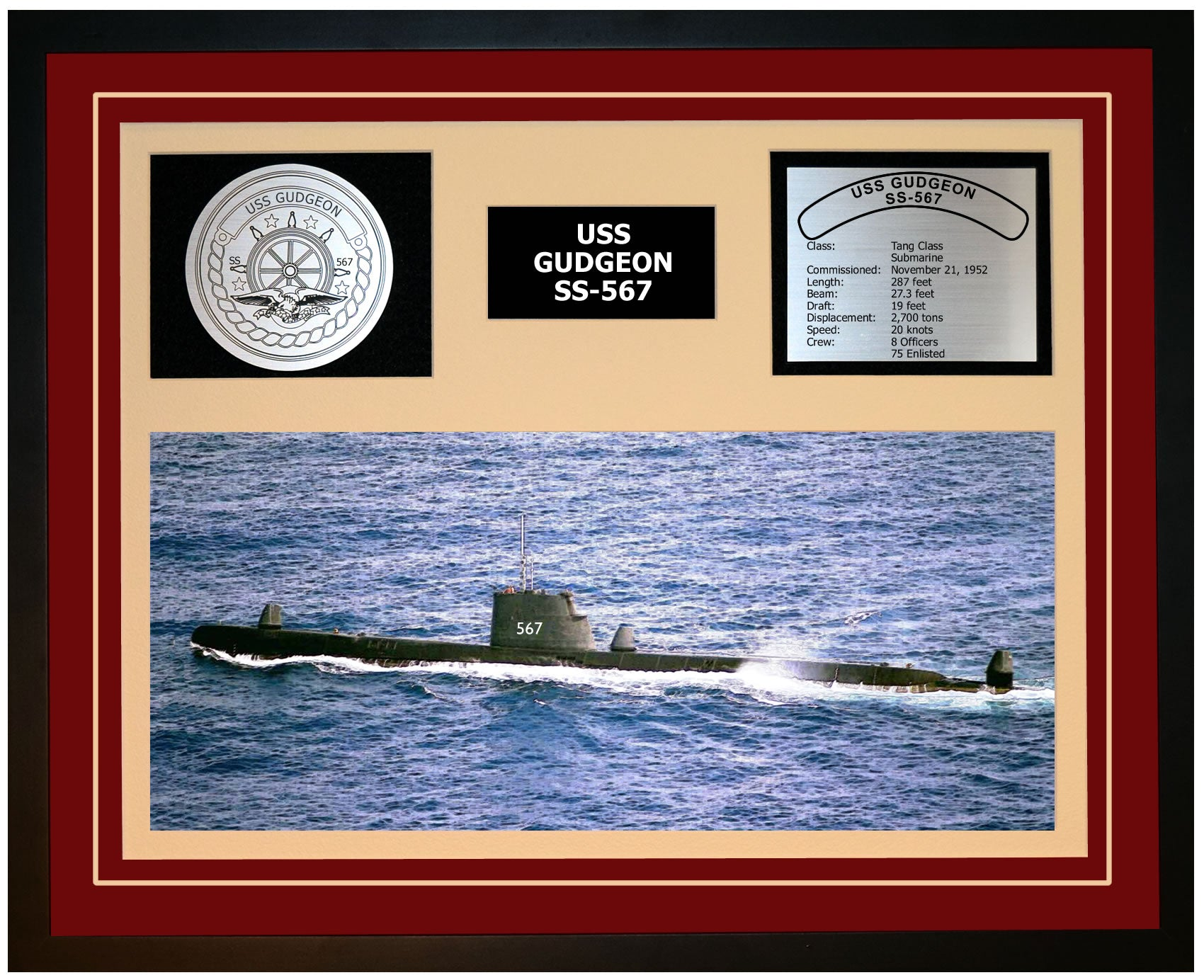USS GUDGEON SS-567 Framed Navy Ship Display Burgundy