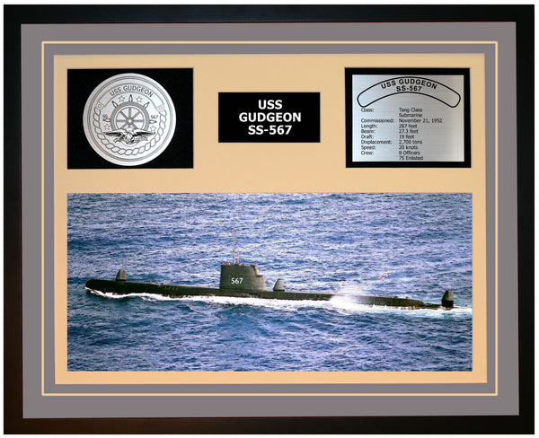 USS GUDGEON SS-567 Framed Navy Ship Display Grey