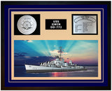 USS GWIN DD-772 Framed Navy Ship Display Blue