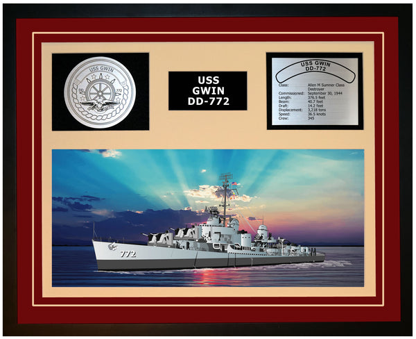 USS GWIN DD-772 Framed Navy Ship Display Burgundy