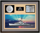 USS GWIN DD-772 Framed Navy Ship Display Grey