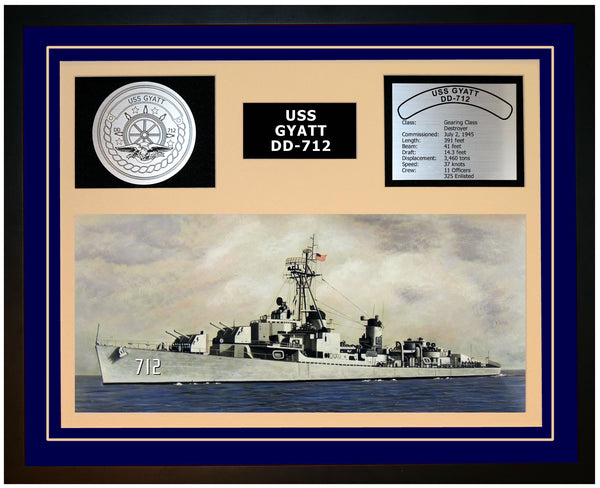 USS GYATT DD-712 Framed Navy Ship Display Blue