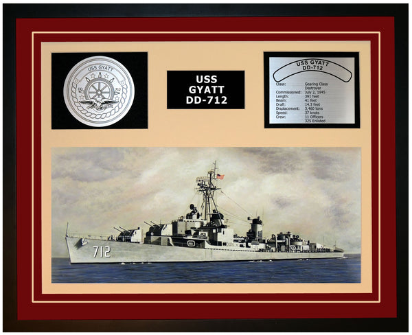 USS GYATT DD-712 Framed Navy Ship Display Burgundy