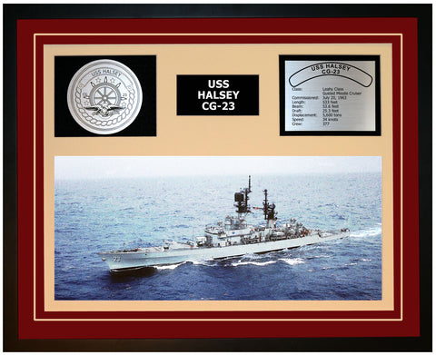 USS HALSEY CG-23 Framed Navy Ship Display Burgundy