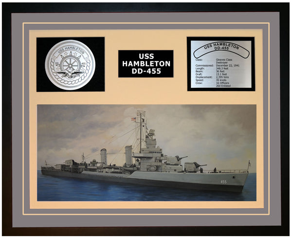 USS HAMBLETON DD-455 Framed Navy Ship Display Grey