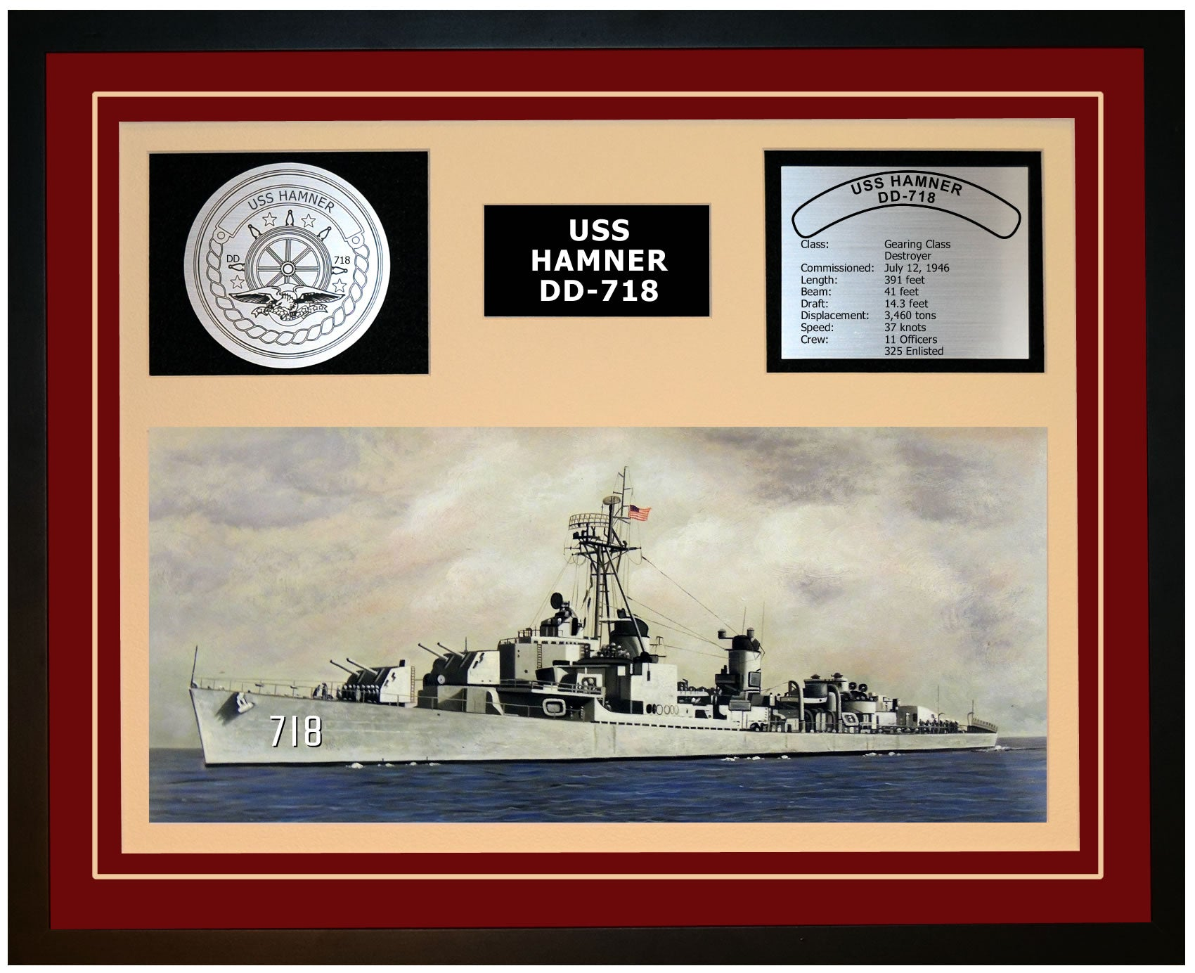 USS HAMNER DD-718 Framed Navy Ship Display Burgundy