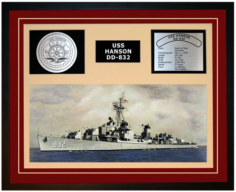 USS HANSON DD-832 Framed Navy Ship Display Burgundy