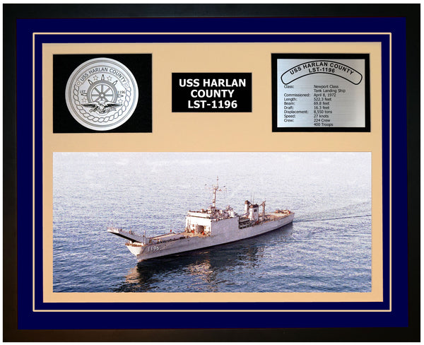 USS HARLAN COUNTY LST-1196 Framed Navy Ship Display Blue