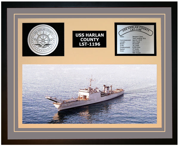 USS HARLAN COUNTY LST-1196 Framed Navy Ship Display Grey
