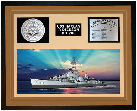 USS HARLAN R DICKSON DD-708 Framed Navy Ship Display Brown