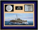 USS HARMON DE-678 Framed Navy Ship Display Blue
