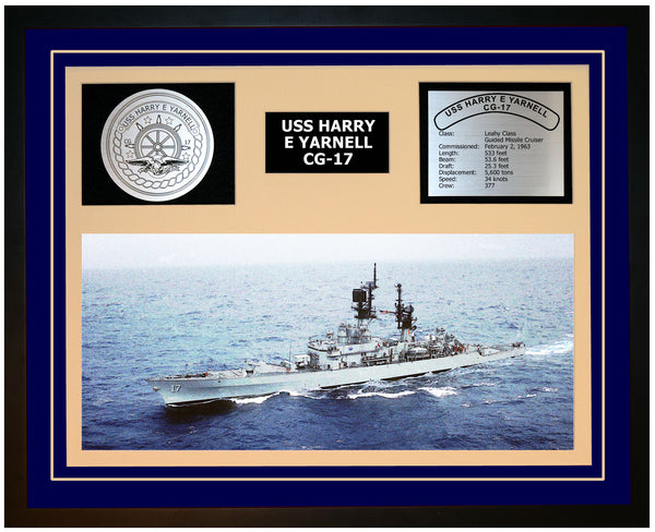 USS HARRY E YARNELL CG-17 Framed Navy Ship Display Blue