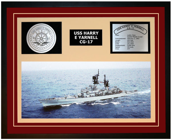 USS HARRY E YARNELL CG-17 Framed Navy Ship Display Burgundy