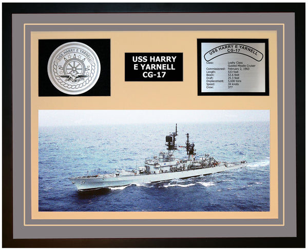 USS HARRY E YARNELL CG-17 Framed Navy Ship Display Grey