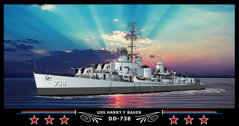 USS Harry F Bauer DD-738 Art Print