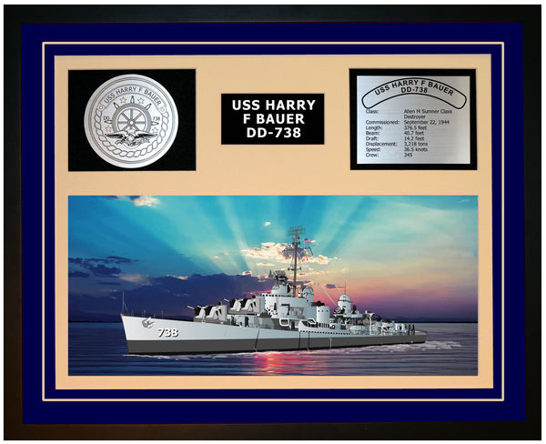 USS HARRY F BAUER DD-738 Framed Navy Ship Display Blue