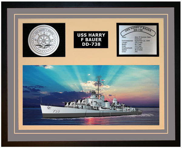 USS HARRY F BAUER DD-738 Framed Navy Ship Display Grey