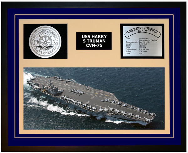 USS HARRY S TRUMAN CVN-75 Framed Navy Ship Display Blue