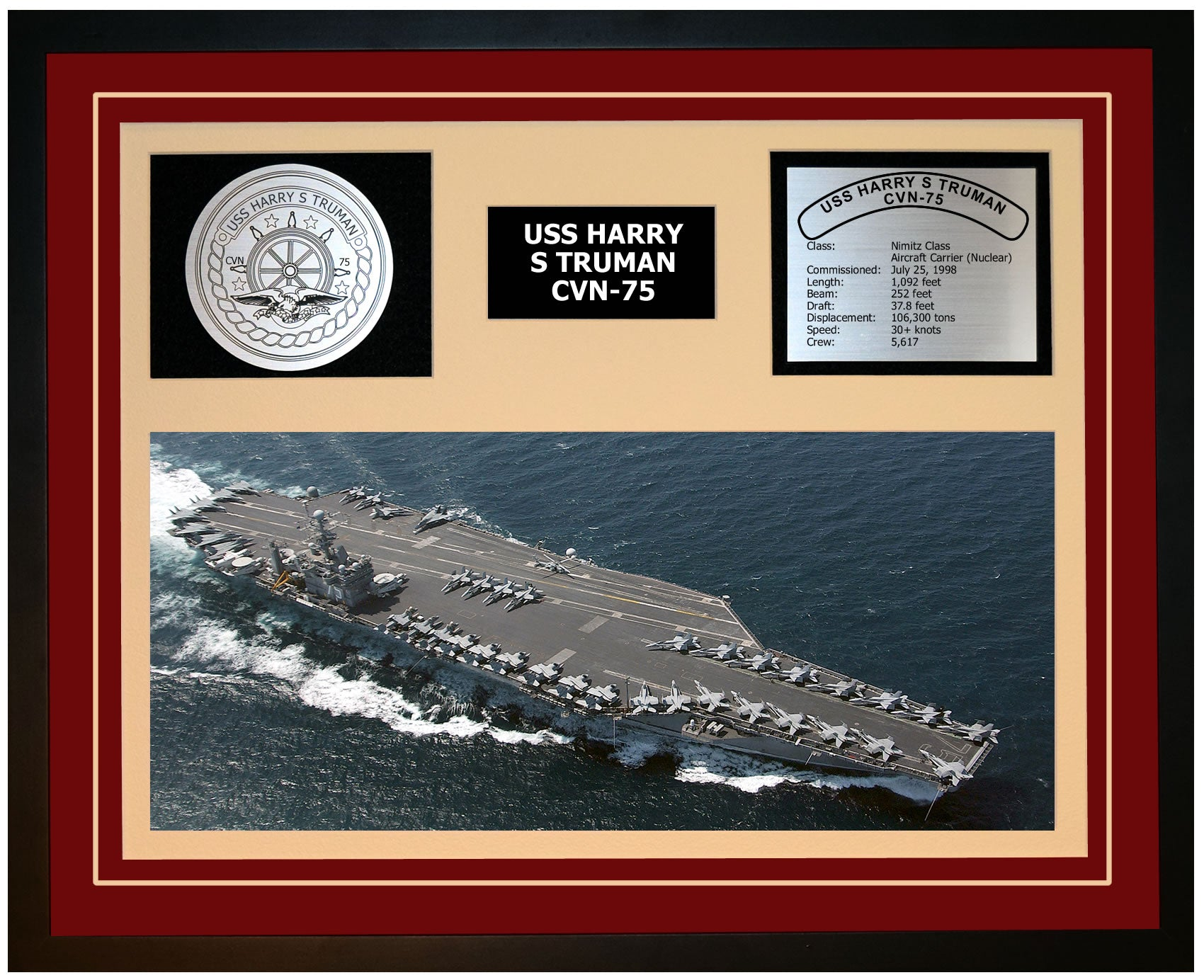 USS HARRY S TRUMAN CVN-75 Framed Navy Ship Display Burgundy