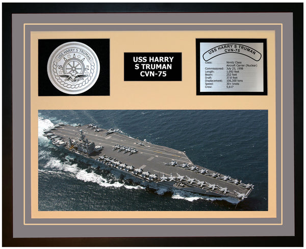 USS HARRY S TRUMAN CVN-75 Framed Navy Ship Display Grey