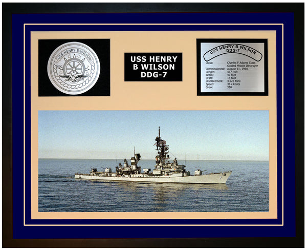 USS HENRY B WILSON DDG-7 Framed Navy Ship Display Blue