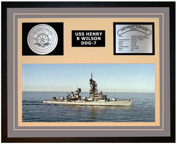 USS HENRY B WILSON DDG-7 Framed Navy Ship Display Grey