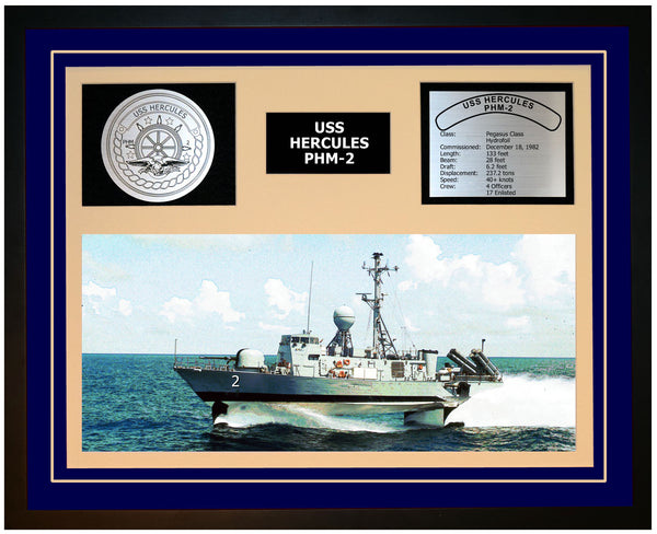 USS HERCULES PHM-2 Framed Navy Ship Display Blue