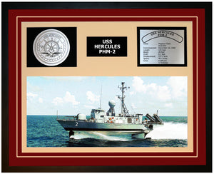 USS HERCULES PHM-2 Framed Navy Ship Display Burgundy
