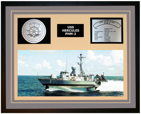 USS HERCULES PHM-2 Framed Navy Ship Display Grey