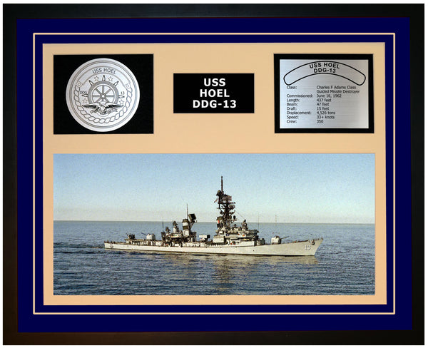 USS HOEL DDG-13 Framed Navy Ship Display Blue