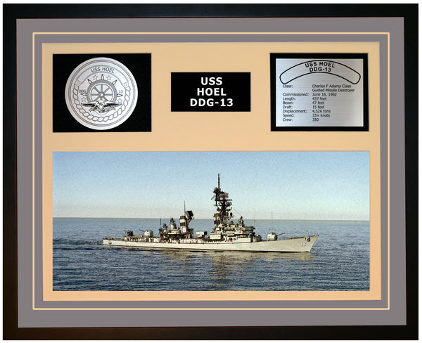 USS HOEL DDG-13 Framed Navy Ship Display Grey
