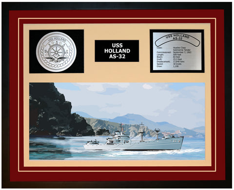 USS HOLLAND AF-32 Framed Navy Ship Display Burgundy