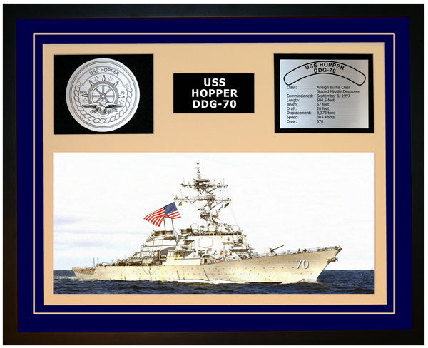 USS HOPPER DDG-70 Framed Navy Ship Display Blue