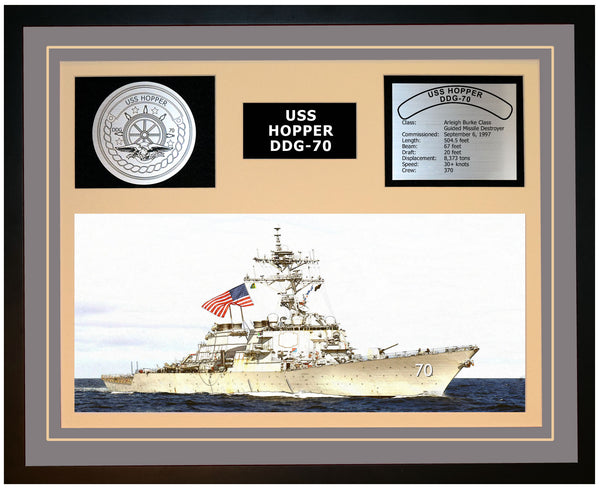 USS HOPPER DDG-70 Framed Navy Ship Display Grey