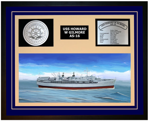 USS HOWARD W GILMORE AS-16 Framed Navy Ship Display Blue