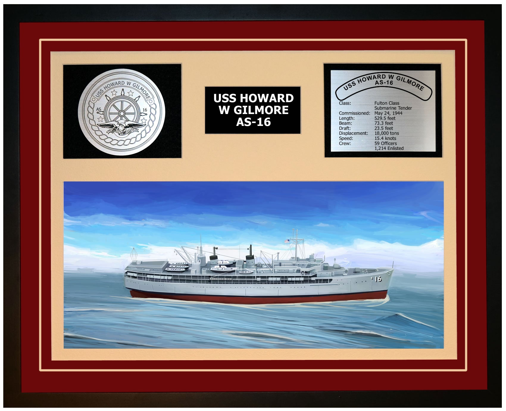 USS HOWARD W GILMORE AS-16 Framed Navy Ship Display Burgundy