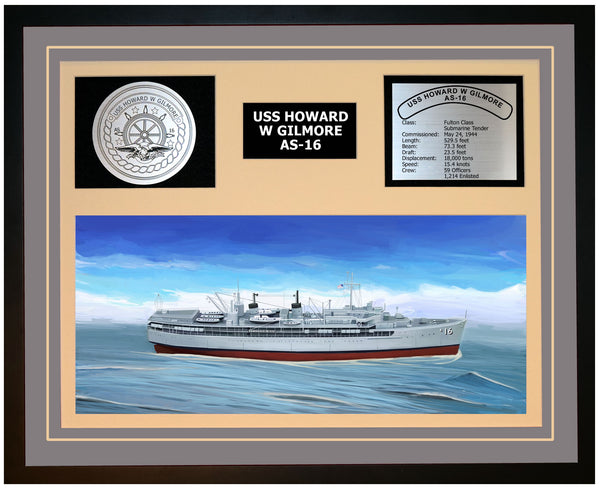 USS HOWARD W GILMORE AS-16 Framed Navy Ship Display Grey